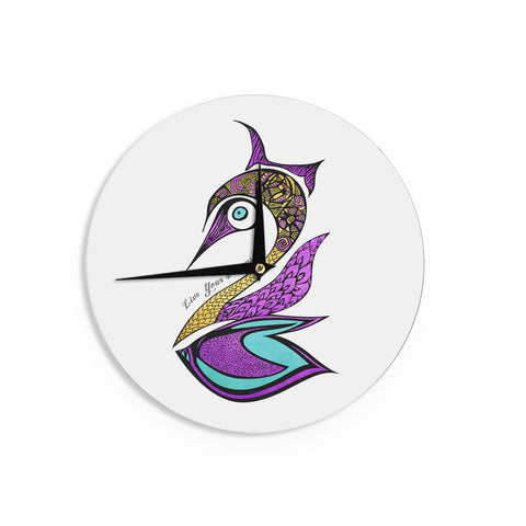 "Pom Graphic Design ""Dreams Swan"" Wall Clock - KESS InHouse"