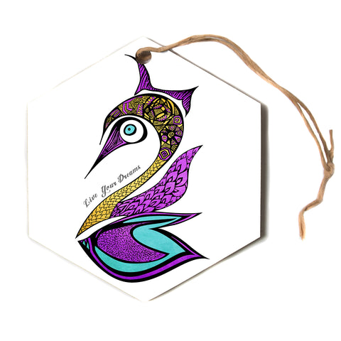 "Pom Graphic Design ""Dreams Swan""  Hexagon Holiday Ornament"