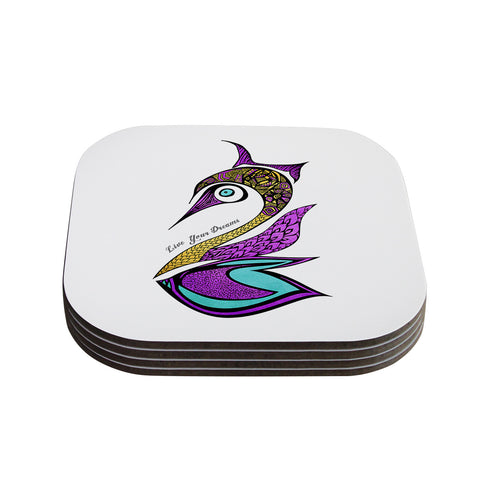"Pom Graphic Design ""Dreams Swan"" Coasters (Set of 4)"