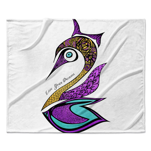 "Pom Graphic Design ""Dreams Swan"" Fleece Throw Blanket"