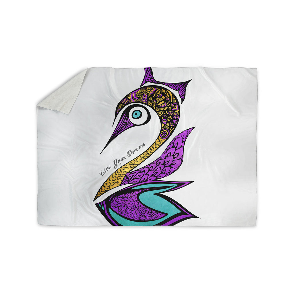 "Pom Graphic Design ""Dreams Swan"" Sherpa Blanket - KESS InHouse  - 1"
