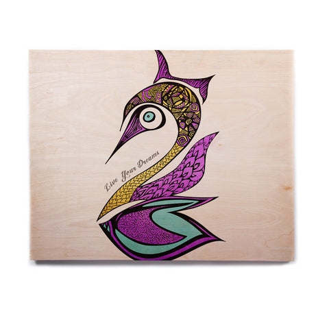 "Pom Graphic Design ""Dreams Swan"" Birchwood Wall Art - KESS InHouse  - 1"