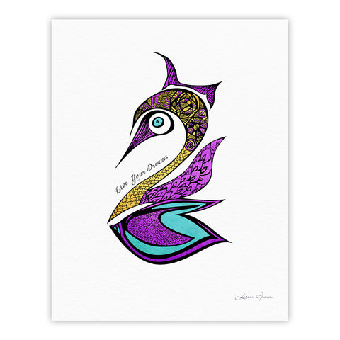 "Pom Graphic Design ""Dreams Swan"" Fine Art Gallery Print - KESS InHouse"