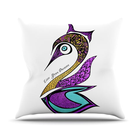"Pom Graphic Design ""Dreams Swan"" Outdoor Throw Pillow - KESS InHouse  - 1"