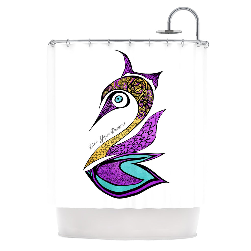 "Pom Graphic Design ""Dreams Swan"" Shower Curtain - KESS InHouse"