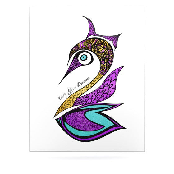 "Pom Graphic Design ""Dreams Swan"" Luxe Rectangle Panel - KESS InHouse  - 1"