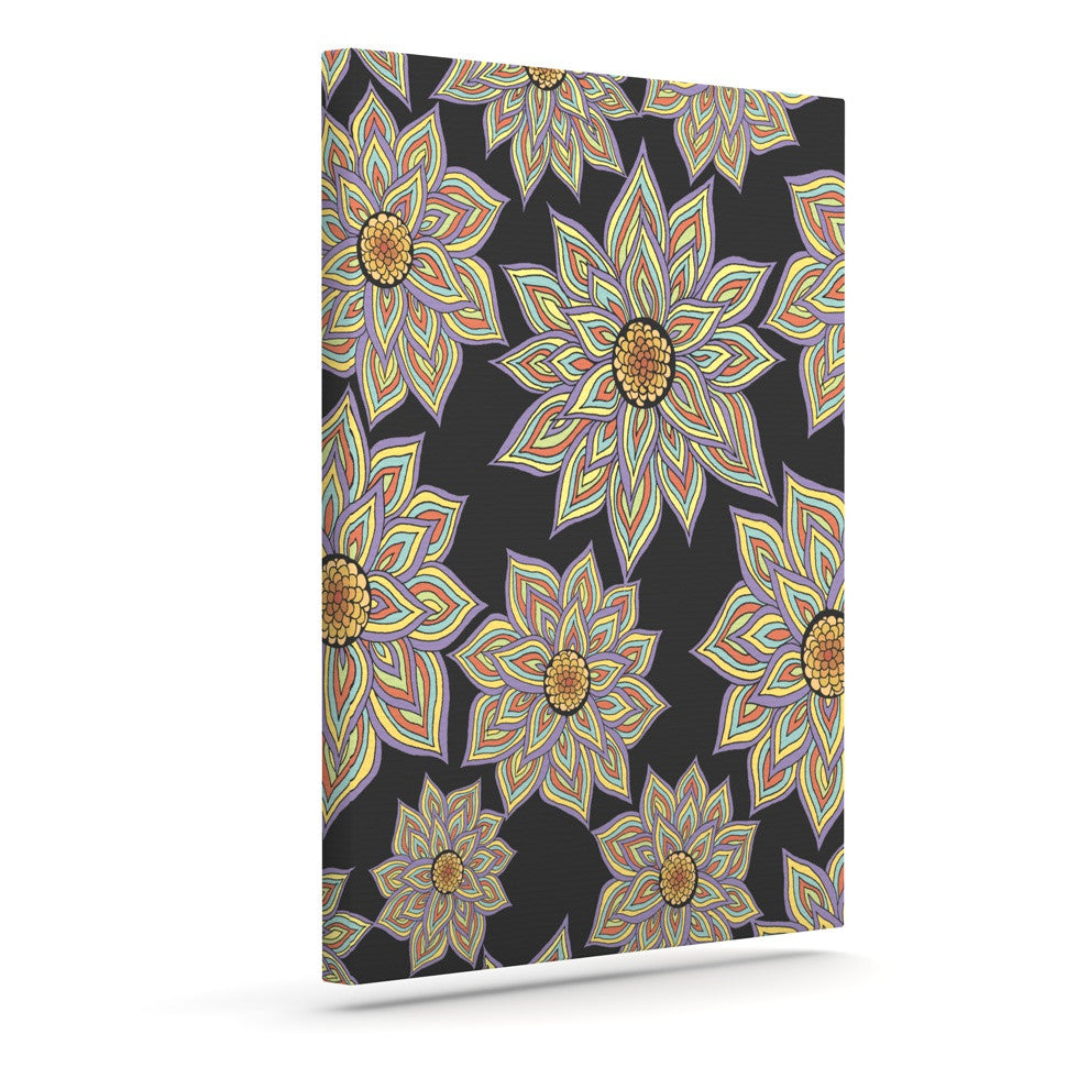 "Pom Graphic Design ""Floral Dance in the Dark"" Outdoor Canvas Wall Art - KESS InHouse  - 1"