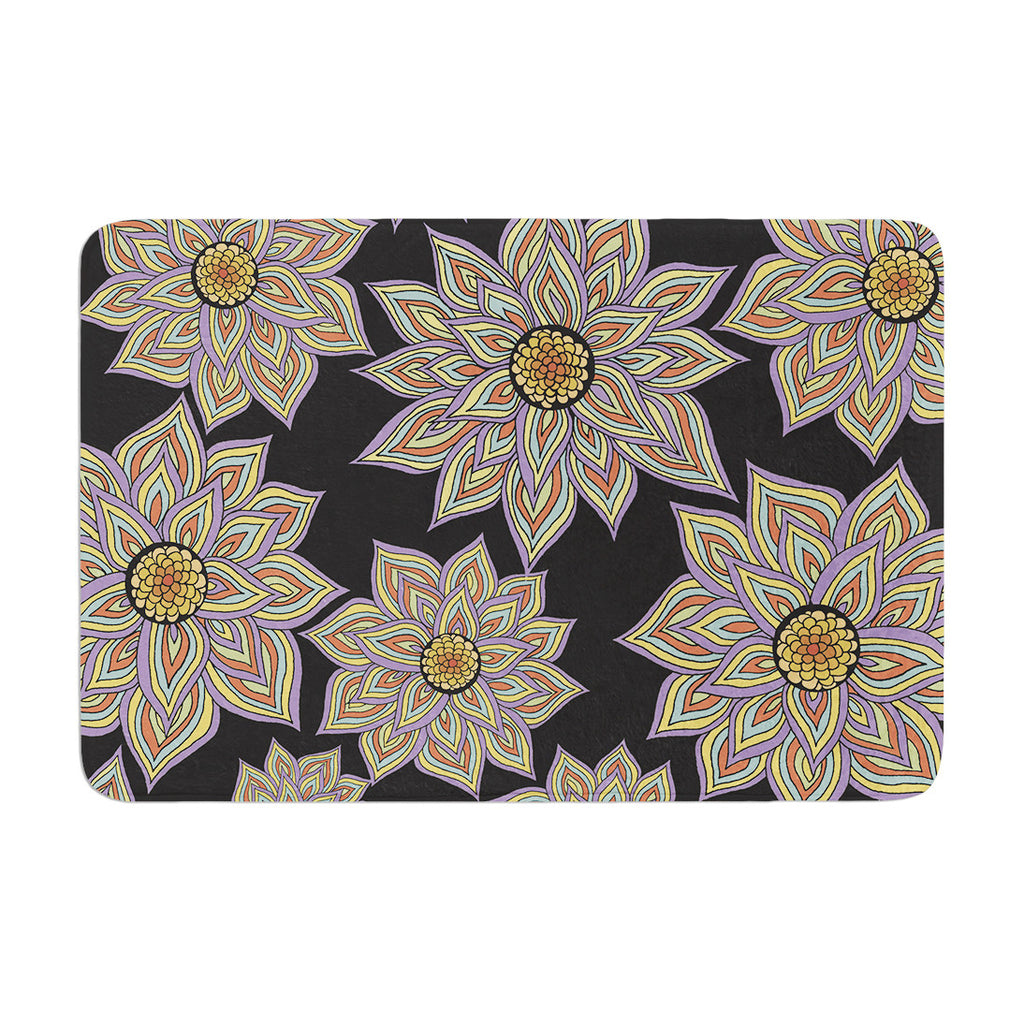 "Pom Graphic Design ""Floral Dance in the Dark"" Memory Foam Bath Mat - KESS InHouse"