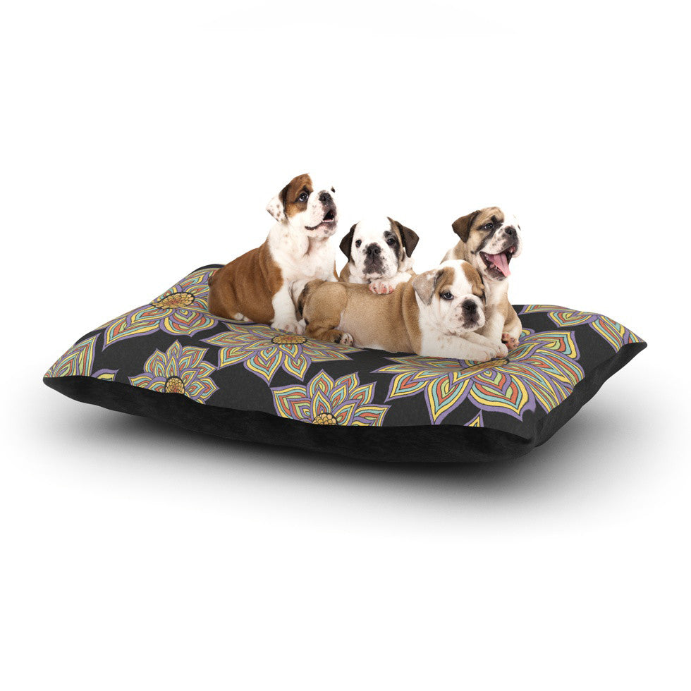 "Pom Graphic Design ""Floral Dance in the Dark"" Dog Bed - KESS InHouse  - 1"