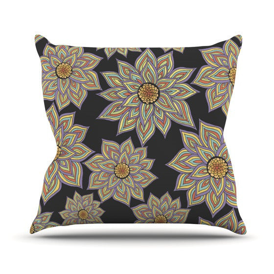 "Pom Graphic Design ""Floral Dance in the Dark"" Outdoor Throw Pillow - KESS InHouse  - 1"