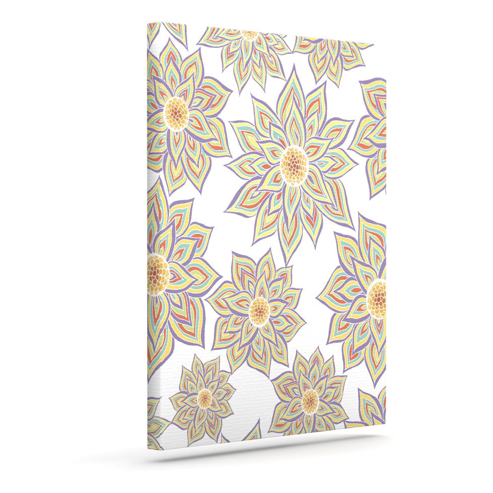 "Pom Graphic Design ""Floral Dance"" Outdoor Canvas Wall Art - KESS InHouse  - 1"
