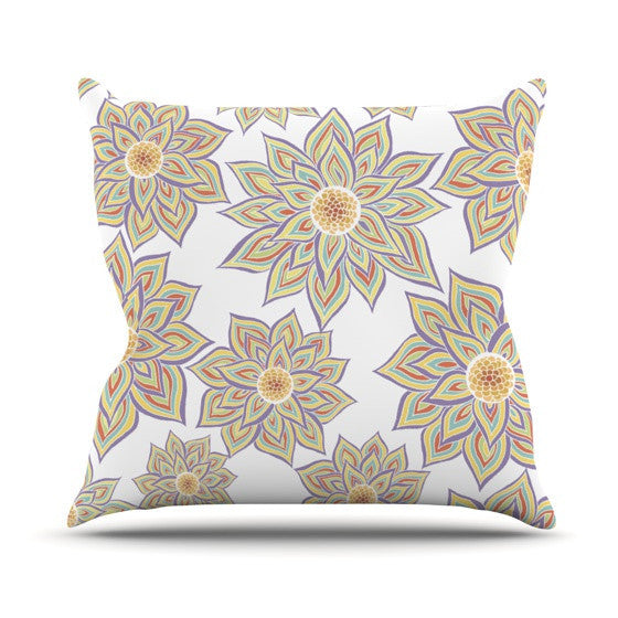 "Pom Graphic Design ""Floral Dance"" Outdoor Throw Pillow - KESS InHouse  - 1"