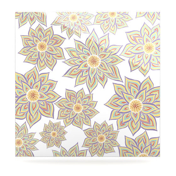 "Pom Graphic Design ""Floral Dance"" Luxe Square Panel - KESS InHouse  - 1"