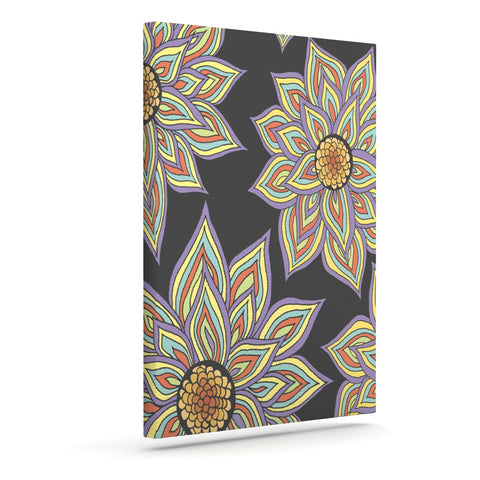 "Pom Graphic Design ""Floral Rhythm in the Dark"" Outdoor Canvas Wall Art - KESS InHouse  - 1"