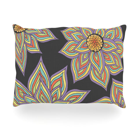 "Pom Graphic Design ""Floral Rhythm in the Dark"" Oblong Pillow - KESS InHouse"