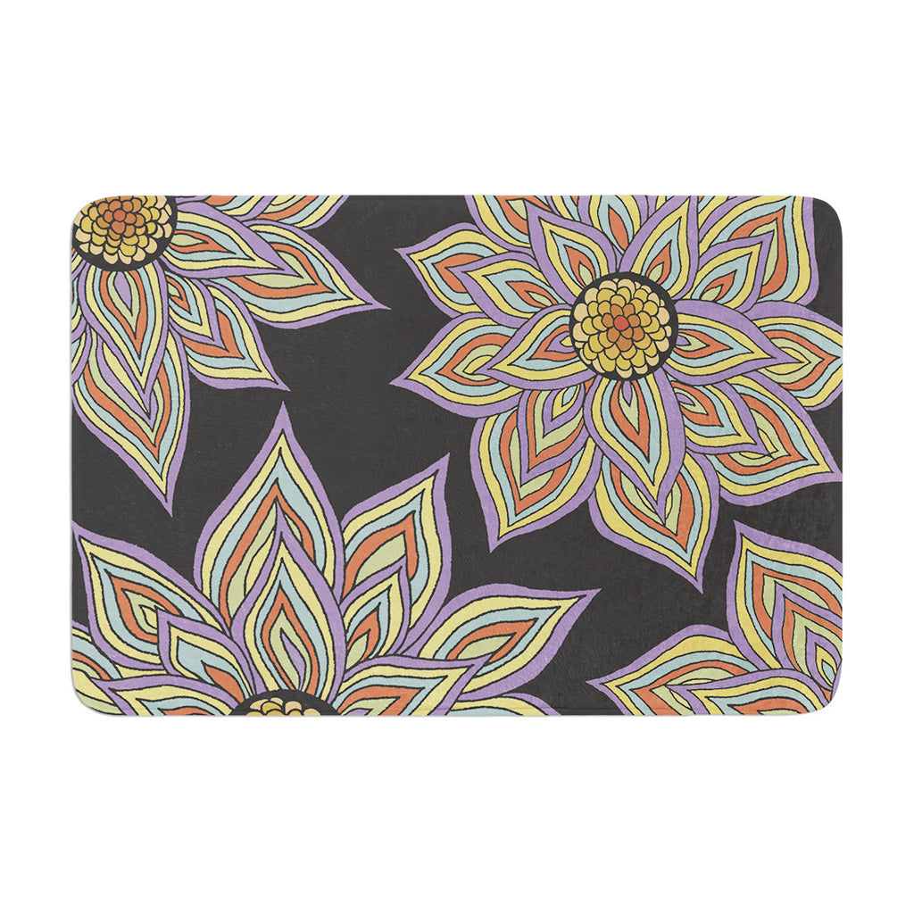 "Pom Graphic Design ""Floral Rhythm in the Dark"" Memory Foam Bath Mat - KESS InHouse"