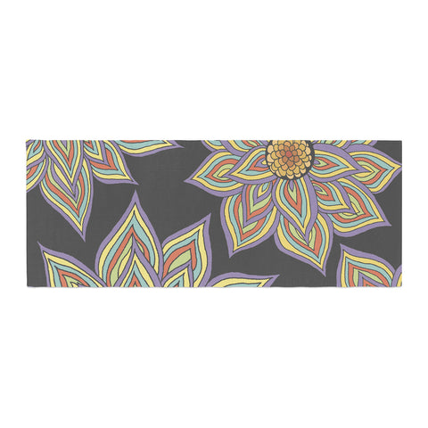 "Pom Graphic Design ""Floral Rhythm in the Dark"" Bed Runner - KESS InHouse"