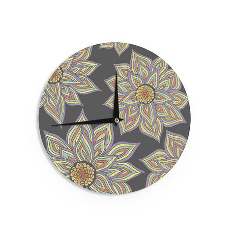 "Pom Graphic Design ""Floral Rhythm in the Dark"" Wall Clock - KESS InHouse"