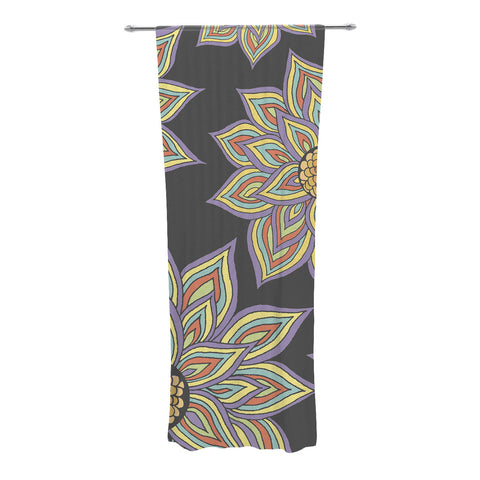 "Pom Graphic Design ""Floral Rhythm in the Dark"" Decorative Sheer Curtain - KESS InHouse"