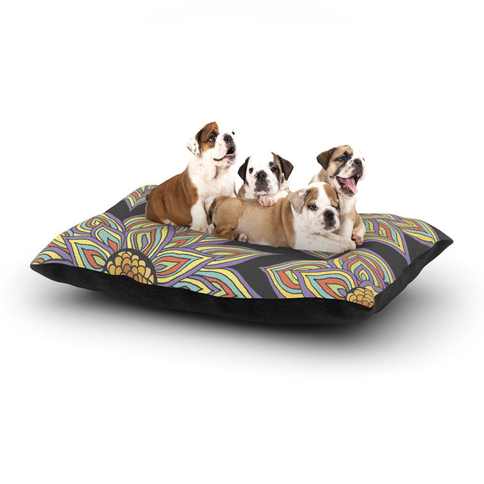"Pom Graphic Design ""Floral Rhythm in the Dark"" Dog Bed - KESS InHouse  - 1"
