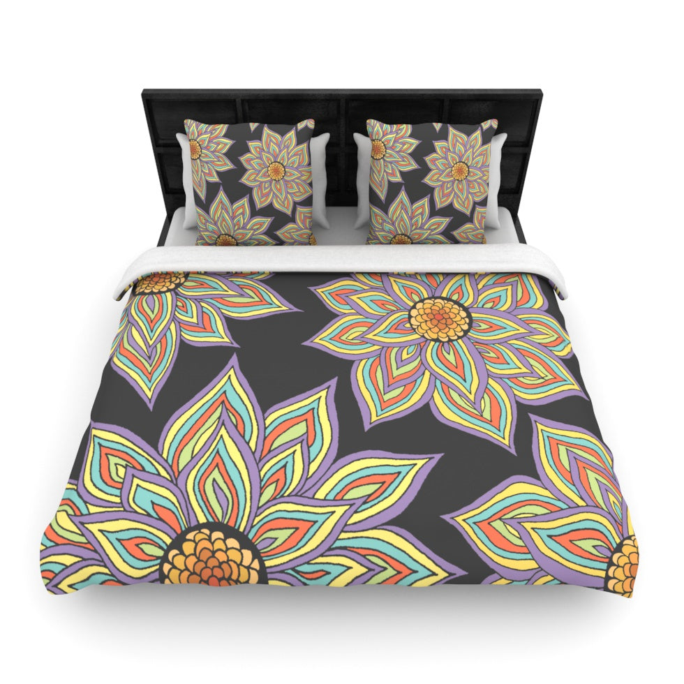 "Pom Graphic Design ""Floral Rhythm in the Dark"" Woven Duvet - KESS InHouse  - 1"