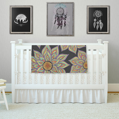 "Pom Graphic Design ""Floral Rhythm in the Dark"" Fleece Throw Blanket"
