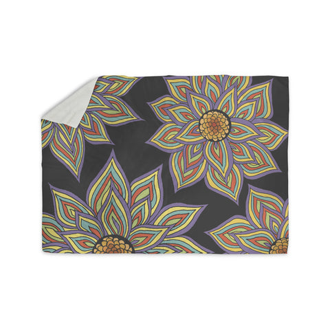 "Pom Graphic Design ""Floral Rhythm in the Dark"" Sherpa Blanket - KESS InHouse  - 1"