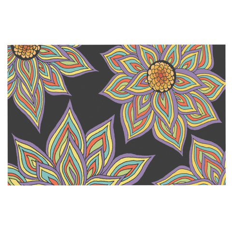 "Pom Graphic Design ""Floral Rhythm in the Dark"" Decorative Door Mat - KESS InHouse"
