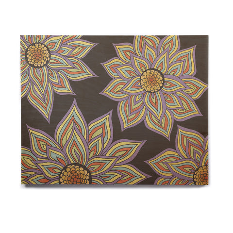 "Pom Graphic Design ""Floral Rhythm in the Dark"" Birchwood Wall Art - KESS InHouse  - 1"