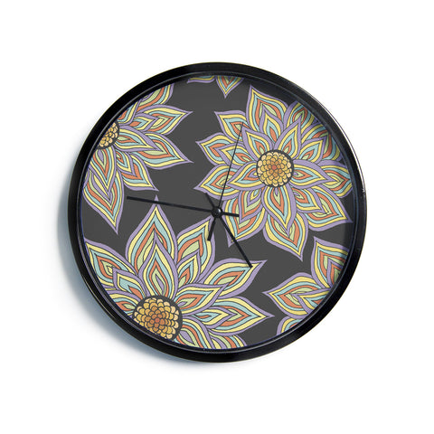 "Pom Graphic Design ""Floral Rhythm in the Dark""  Modern Wall Clock"