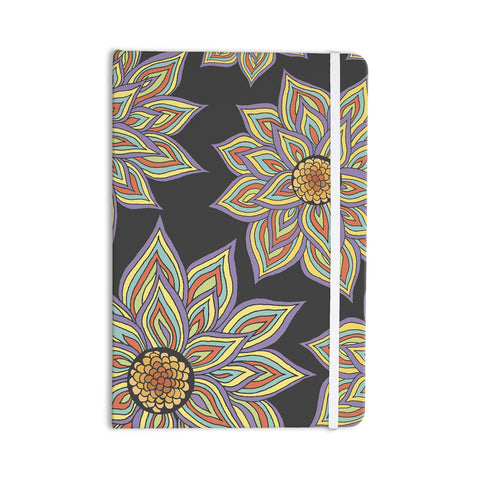 "Pom Graphic Design ""Floral Rhythm in the Dark"" Everything Notebook - KESS InHouse  - 1"