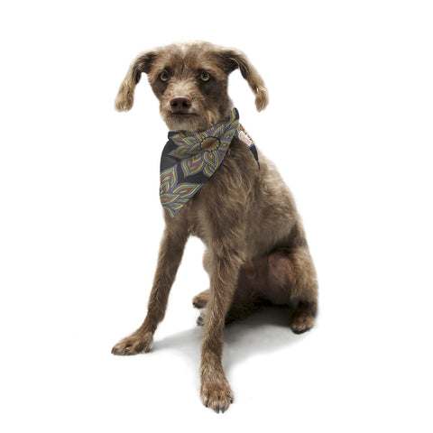 "Pom Graphic Design ""Floral Rhythm in the Dark"" Pet Bandana - KESS InHouse  - 1"