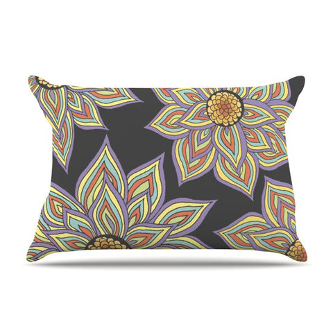 "Pom Graphic Design ""Floral Rhythm in the Dark"" Pillow Sham - KESS InHouse"