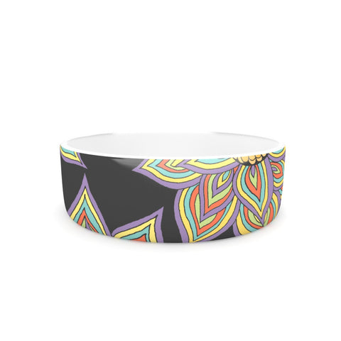 "Pom Graphic Design ""Floral Rhythm in the Dark"" Pet Bowl - KESS InHouse"