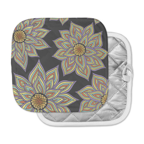 "Pom Graphic Design ""Floral Rhythm in the Dark"" Pot Holder"