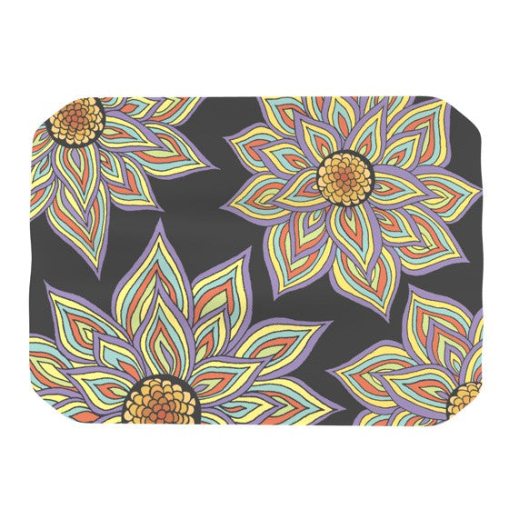 "Pom Graphic Design ""Floral Rhythm in the Dark"" Place Mat - KESS InHouse"