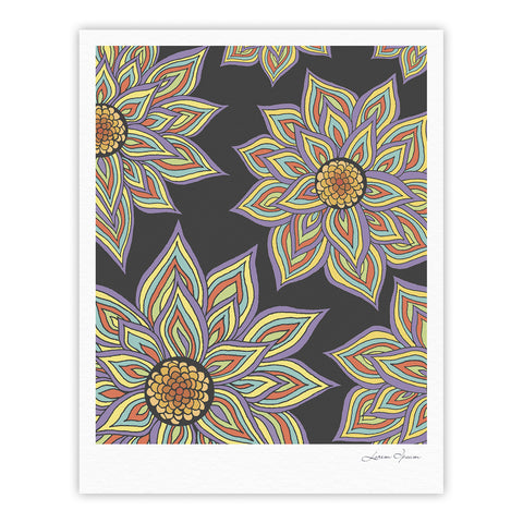 "Pom Graphic Design ""Floral Rhythm in the Dark"" Fine Art Gallery Print - KESS InHouse"