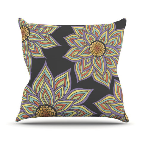 "Pom Graphic Design ""Floral Rhythm in the Dark"" Outdoor Throw Pillow - KESS InHouse  - 1"