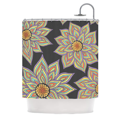 "Pom Graphic Design ""Floral Rhythm in the Dark"" Shower Curtain - KESS InHouse"
