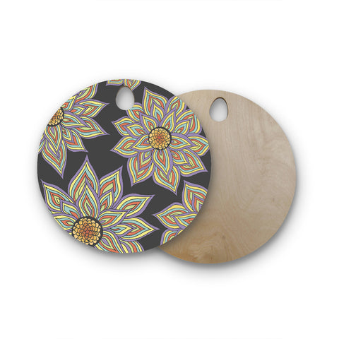 "Pom Graphic Design ""Floral Rhythm in the Dark"" Round Wooden Cutting Board"