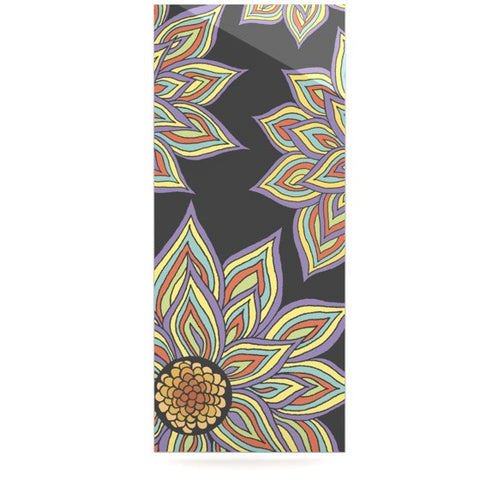 "Pom Graphic Design ""Floral Rhythm in the Dark"" Luxe Rectangle Panel - KESS InHouse  - 1"