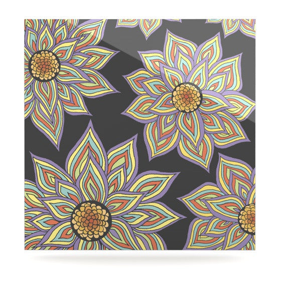 "Pom Graphic Design ""Floral Rhythm in the Dark"" Luxe Square Panel - KESS InHouse  - 1"