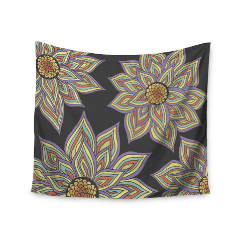 "Pom Graphic Design ""Floral Rhythm in the Dark"" Wall Tapestry - KESS InHouse  - 1"