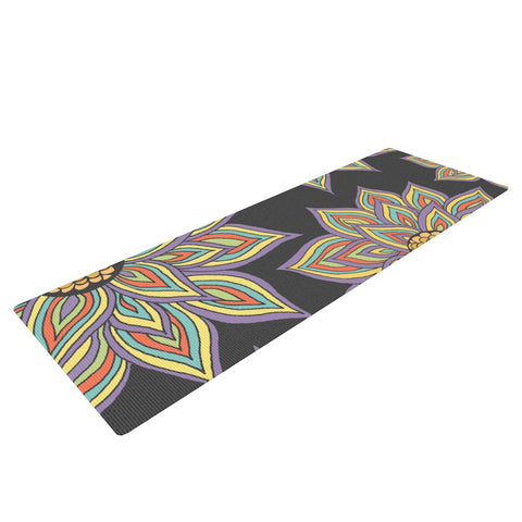 "Pom Graphic Design ""Floral Rhythm in the Dark"" Yoga Mat - KESS InHouse  - 1"