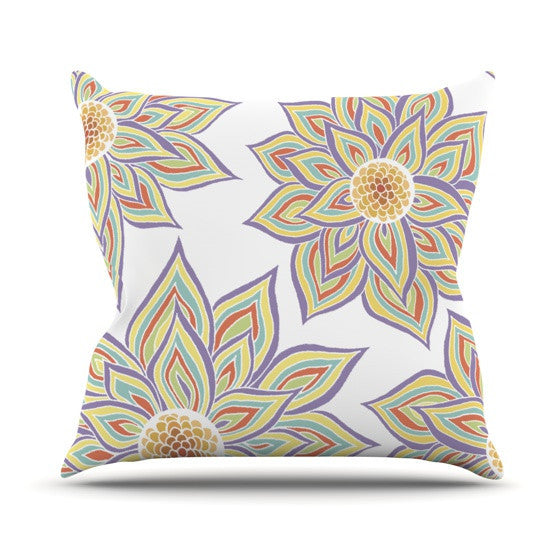 "Pom Graphic Design ""Floral Rhythm"" Outdoor Throw Pillow - KESS InHouse  - 1"