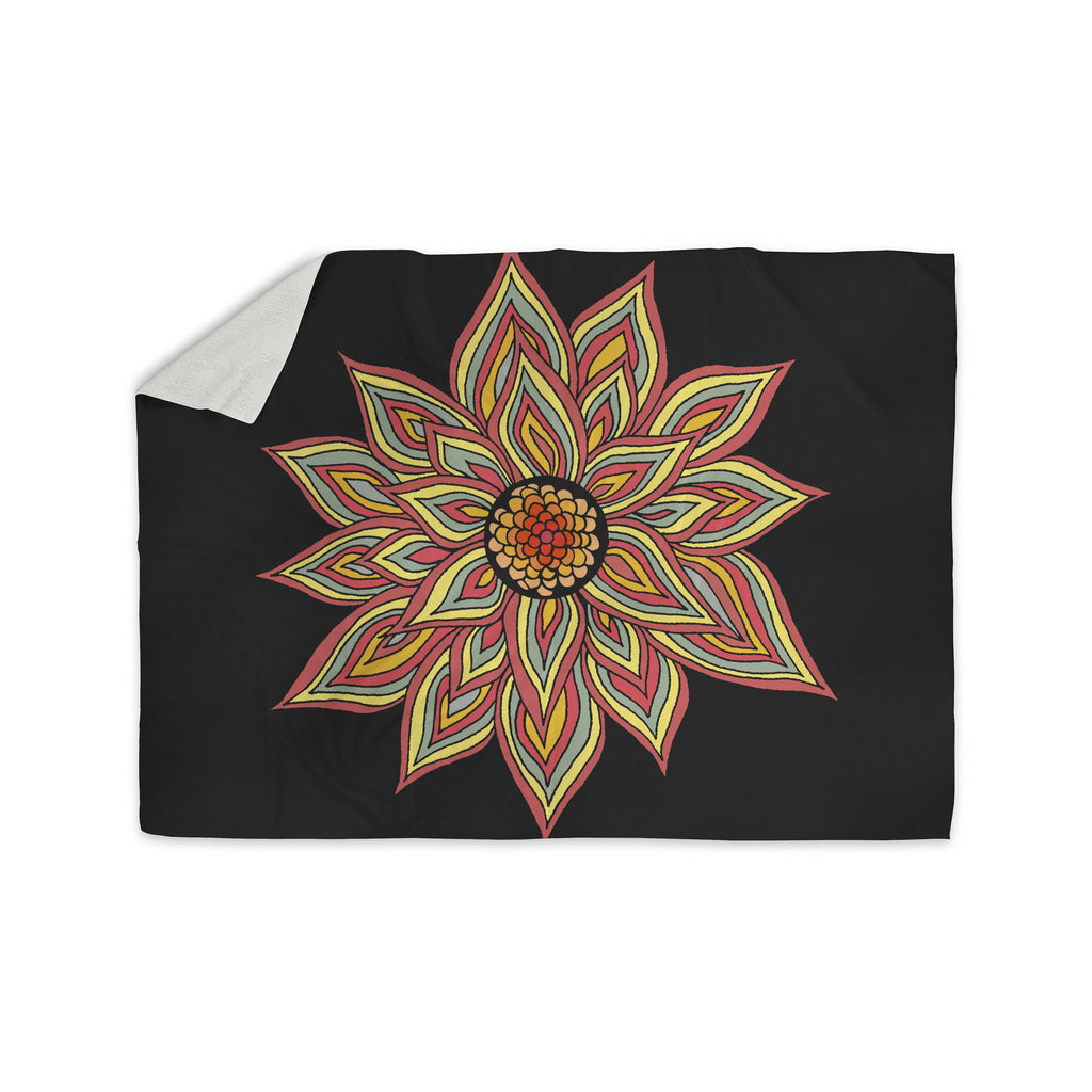 "Pom Graphic Design ""Incandescent Flower"" Sherpa Blanket - KESS InHouse  - 1"
