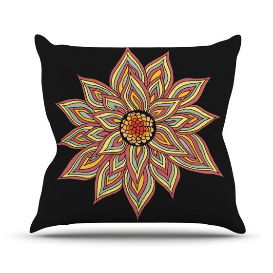 "Pom Graphic Design ""Incandescent Flower"" Throw Pillow - KESS InHouse  - 1"