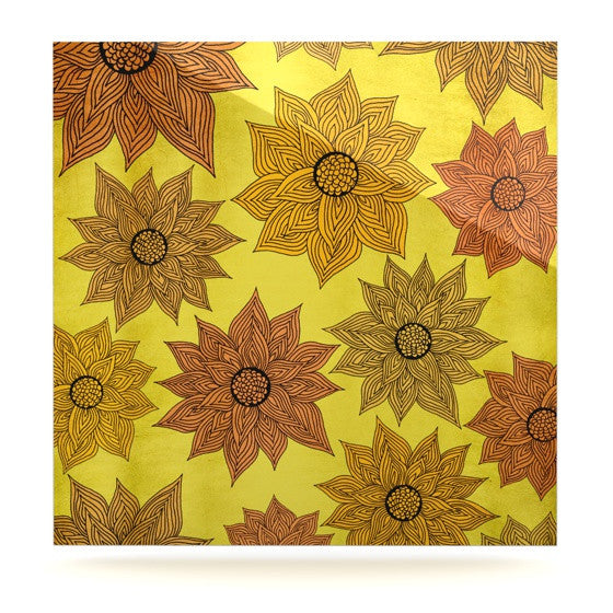 "Pom Graphic Design ""It's Raining Flowers"" Luxe Square Panel - KESS InHouse  - 1"