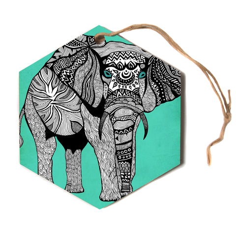 "Pom Graphic Design ""Elephant of Namibia Color""  Hexagon Holiday Ornament"