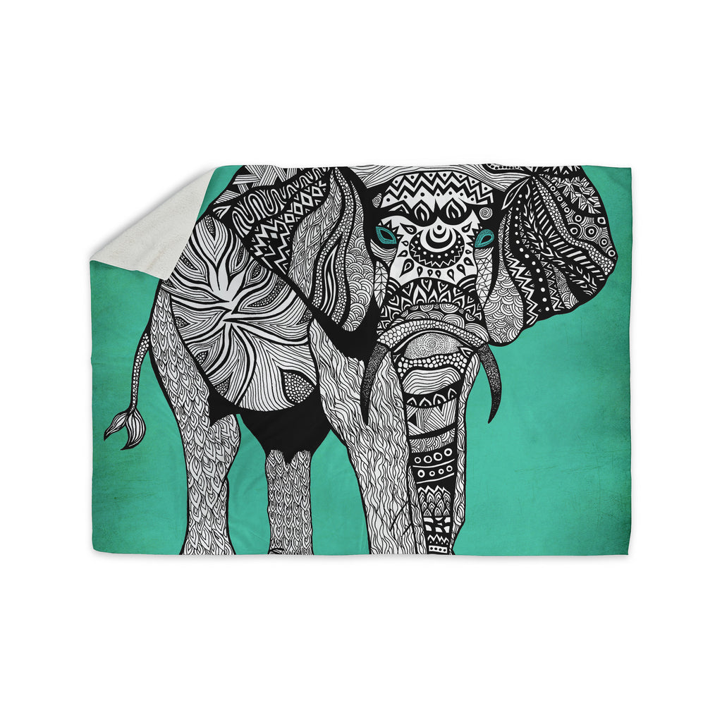 "Pom Graphic Design ""Elephant of Namibia Color"" Sherpa Blanket Fleece - KESS InHouse  - 1"